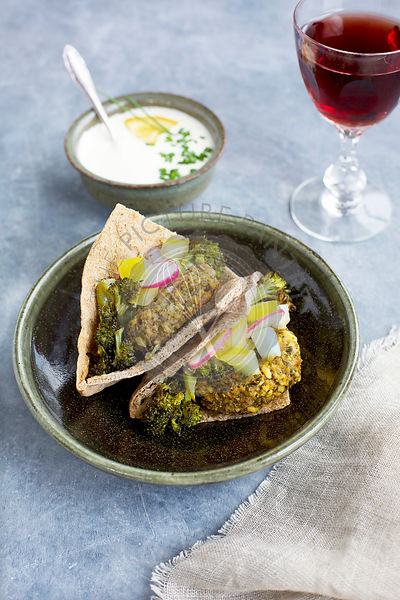 Charred Broccoli Falafel with Charred Lemon Tahini and Tzatziki Sauce