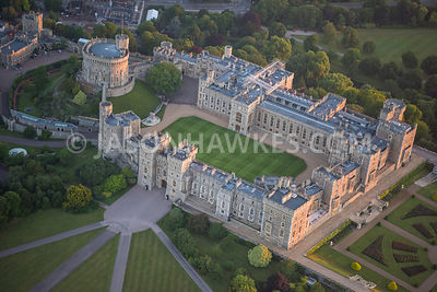 Aerial view of Windsor Castle with  Round Tower.
