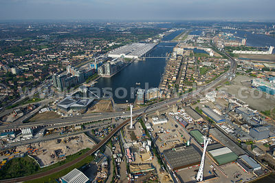 Aerial view of the Royal Docks, Newham, London