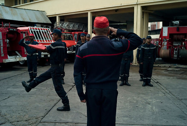 Color ceremony every day. The discipline of Antananarivo's fire department is military.