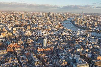Aerial view of London's West End. Covent Garden, Seven Dials, Cambridge Circus, A401 Shaftesbury Avenue, St. Martin's Courtyard, St. Giles. London.