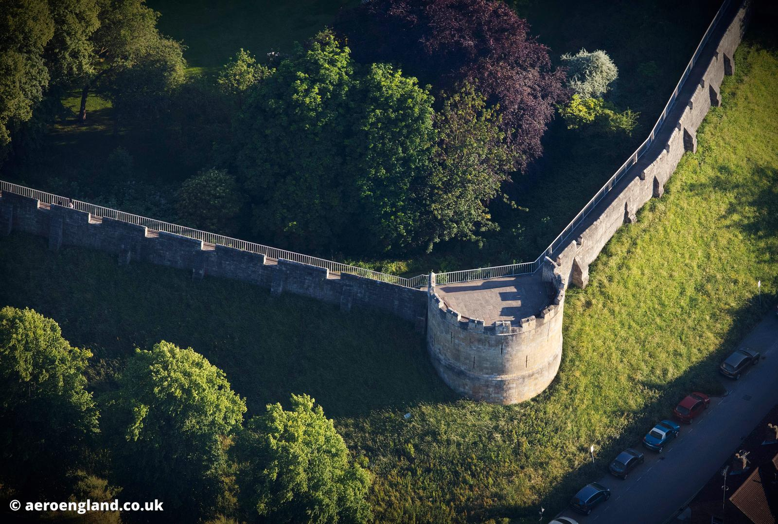 Robin Hood Tower on the York City Walls  from the air