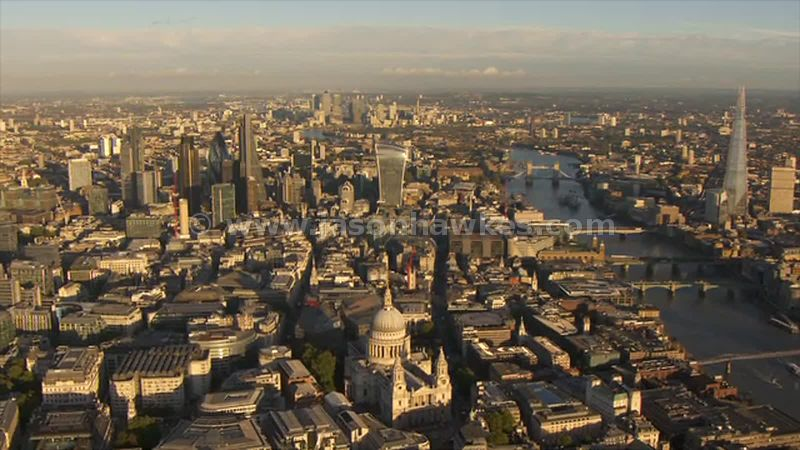 Aerial footage of St Paul's and the City, London