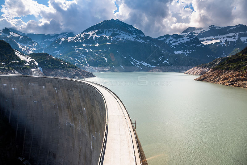 Aerial view of hydroelecetric dam at Emosson Lake, Finhaut, Valais, Switzerland.