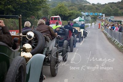 The earliest Edwardian motor cars head for the start line - Kop Hill Climb 2013