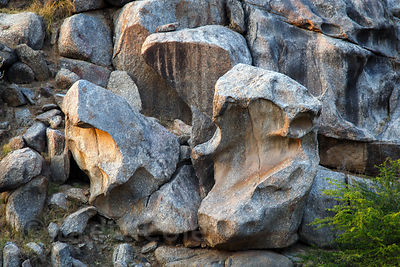 Large sculpted boulders about 3 meters tall, Ajaypal, Rajasthan, India