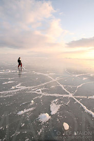 Ice skating on frozen sea