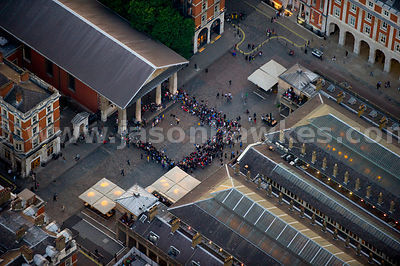 Aerial view of people in Covent Garden, London