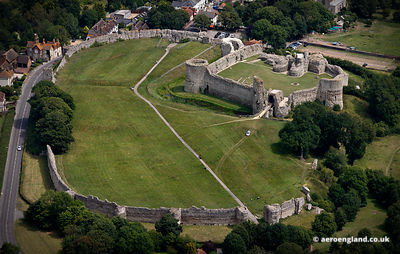 aerial photograph of Pevensey Castle East Sussex, England UK