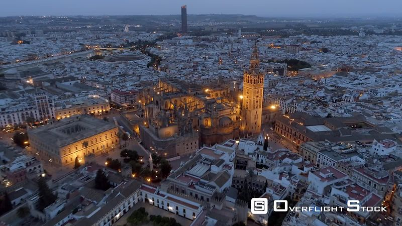Catedral de Sevilla. Historic Cityscape and Gothic Cathedral de Seville Spain