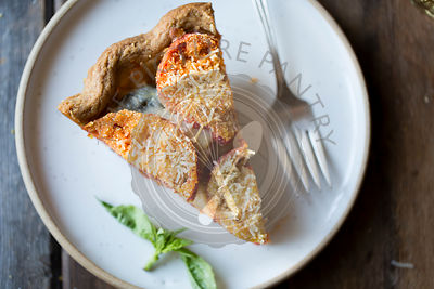 Gluten Free Tomato Pie with Basil, Parmesan and Cornmeal