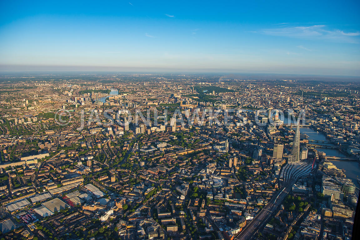 Aerial view of London, Bermondsey with Walworth.