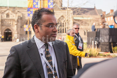 Krishnan Guru-Murthy reporting from outside Leicester Cathedral for Channel Four News