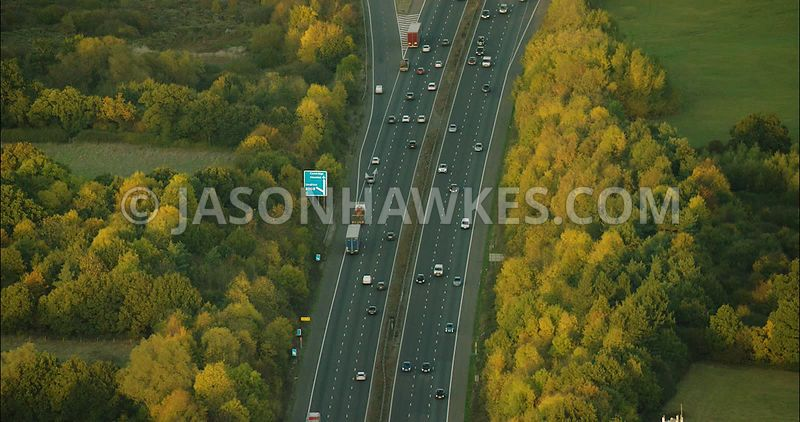 London Aerial Footage of Motorway in UK