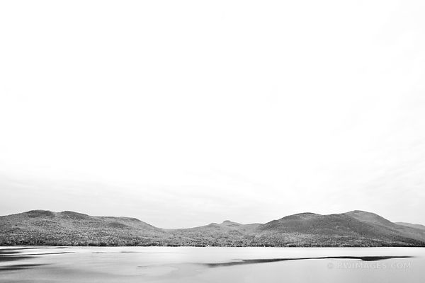 LAKE GEORGE FROM SABBATH DAY POINT ADIRONDACK MOUNTAINS BLACK AND WHITE