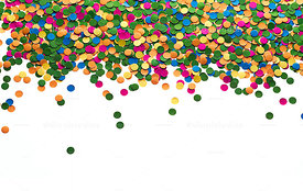 Confetti background forming a bar at the top of the image