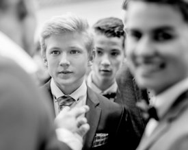 Young Nordic boys in suits (black/white picture)