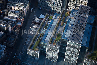 Aerial view of London, close up of Bishops Square, Spitalfields.