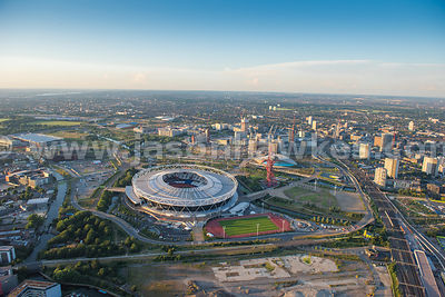 Aerial view of London, Queen Elizabeth Olympic Park.