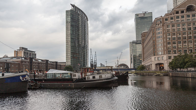 View of London's docklands, buildings and water