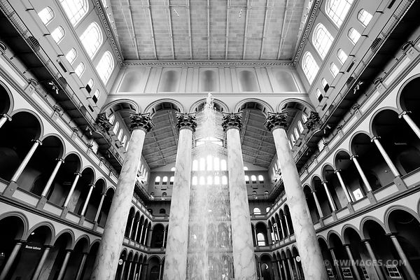 NATIONAL BUILDING MUSEUM WASHINGTON DC BLACK AND WHITE