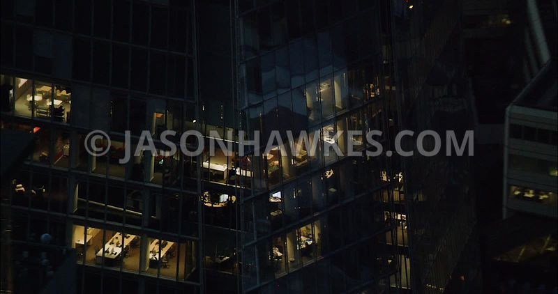 London Aerial Footage close up of City of London office block.