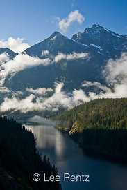 Colonial Peak and Ross Lake and lifting autumn clouds, Ross Lake National Recreation Area, North Cascades National Park Service Complex, North Cascade Mountains, Washington State, USA, October, 2008_WA_6507