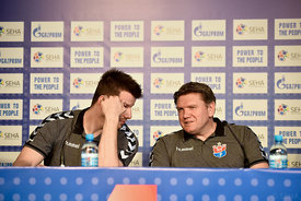 Ljubo VUKIĆ ,Sergey BEBESHKO of Meshkov Brest during the Final Tournament - Final Four - SEHA - Gazprom league, press conference, Croatia, 31.03.2016, ..Mandatory Credit ©SEHA/Nebojša Tejić.