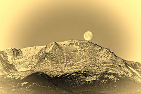 Moon Set Over Pikes Peak