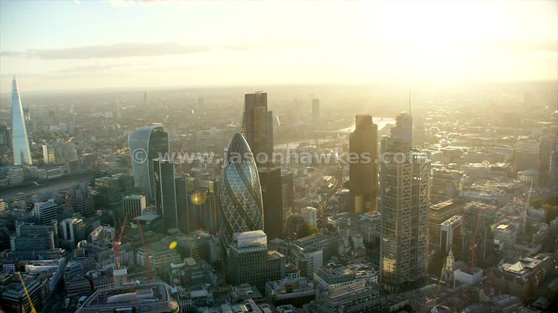 Aerial footage of London 30 St Mary's Axe and 20 Fenchurch Street.