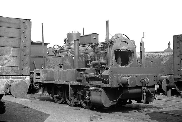 J70 Class No 68217, still nmbered 8217, outside the paint shop at Strafrod, without its tram engine body, during overhaul  21/05/1949