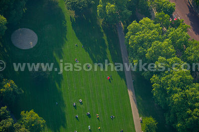 Aerial view of people in St James' Park, London