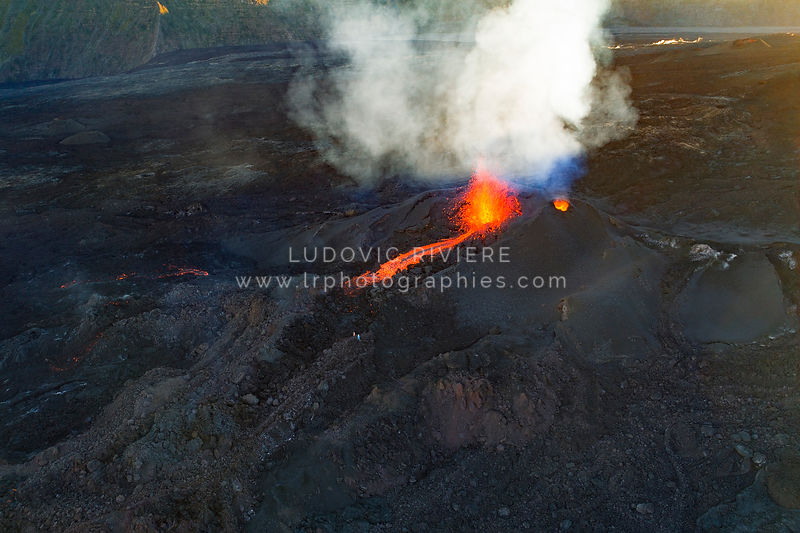 Aerial photography of volcanic eruption in Reunion Island