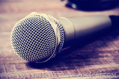 microphone on a wooden surface, filtered