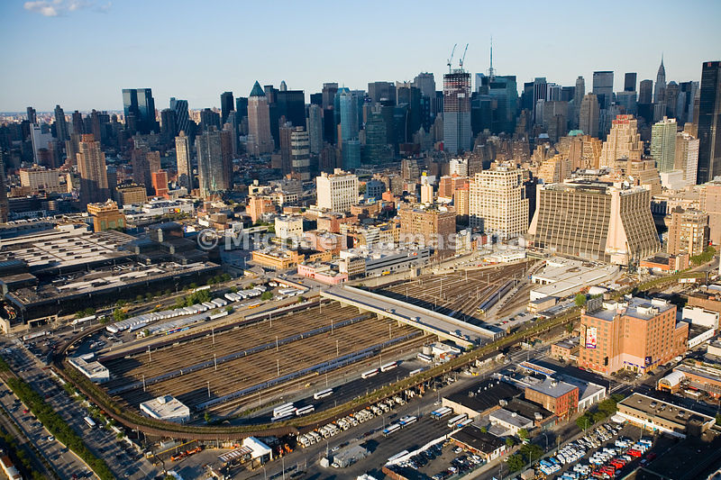 The Westside railyards, once considered by the New York officials as a site for a football stadium, will instead be developed into a high-rise office and residential district.  Manhattan, New York City.