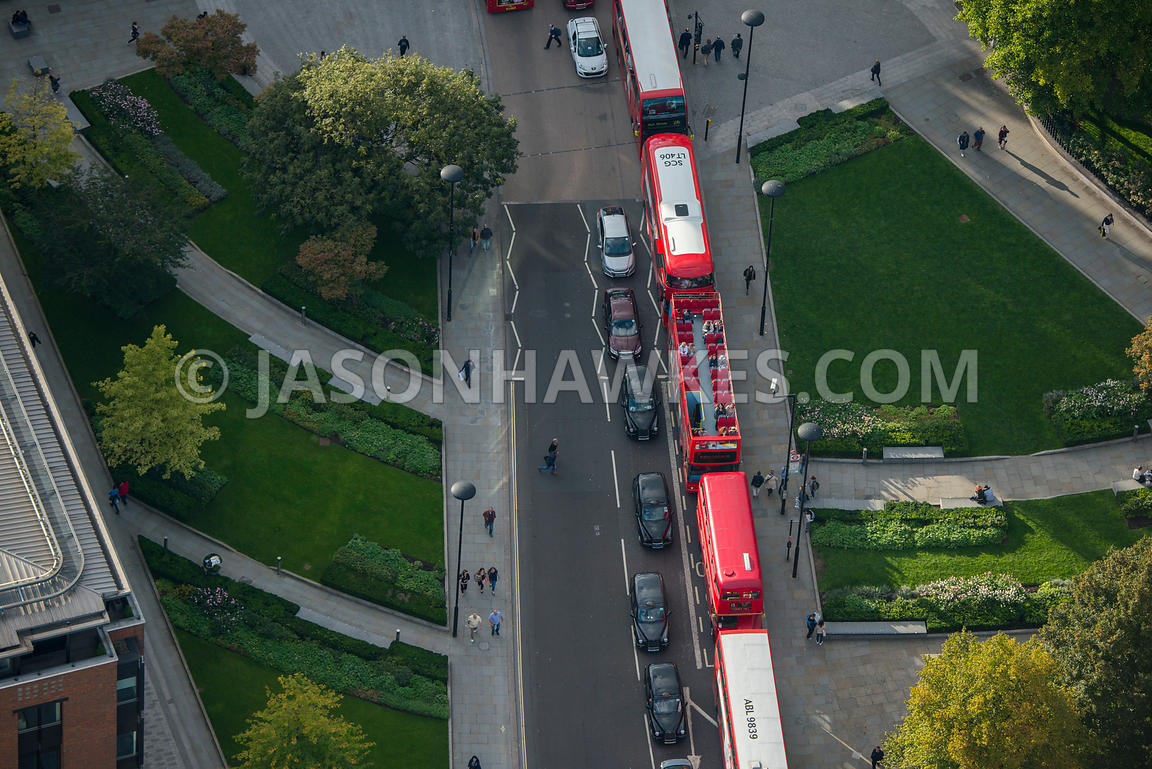Aerial view of traffic queuing at St Paul's Churchyard, London