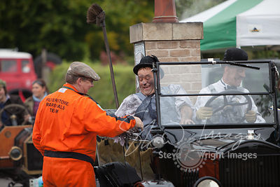 Haurel and Lardy in Laurel and Hardy's original Ford Model T - Entertaining the crowds at Kop Hill Climb 2013
