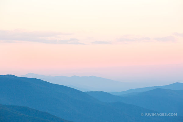 SUNSET AFTERGLOW BLUE RIDGE MOUNTAINS SHENANDOAH NATIONAL PARK VIRGINIA