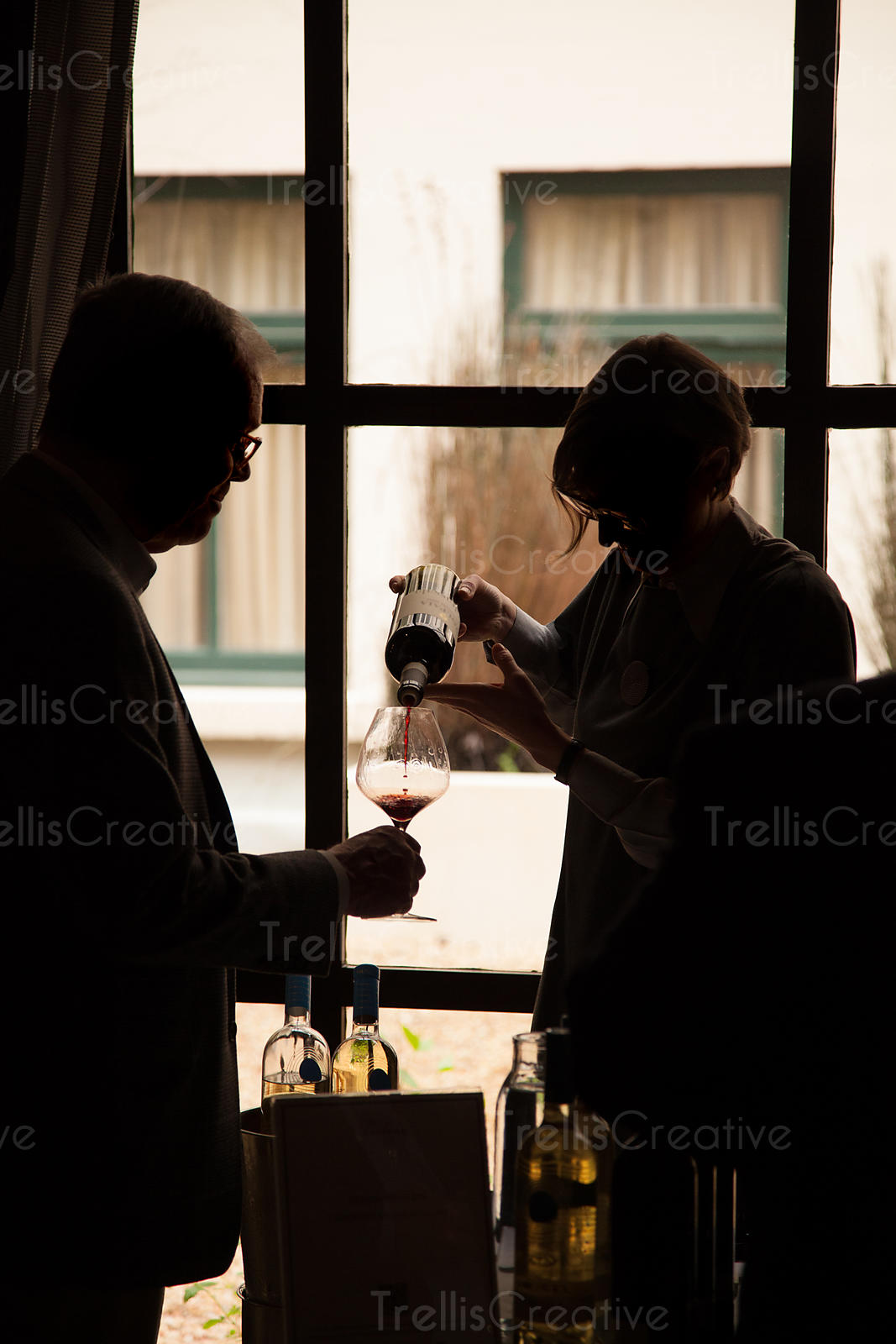 Silhouette of a woman pouring a glass of wine for a man