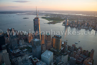 Looking from One World Trade Center in Lower Manhattan across the Hudson River to Jersey City