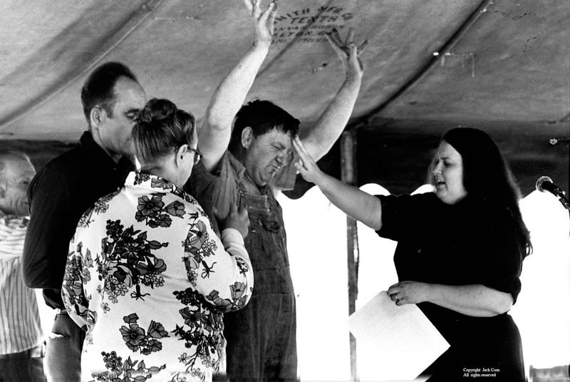 Tent meeting, Harlan, KY, woman pastor
