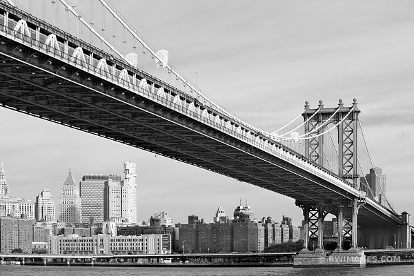 MANHATTAN BRIDGE NEW YORK CITY NEW YORK BLACK AND WHITE