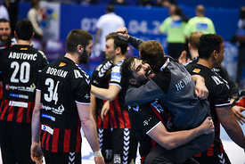 Celebrations during the Final Tournament - Final Four - SEHA - Gazprom league, Gold Medal Match Vardar - Telekom Veszprém, Belarus, 09.04.2017, Mandatory Credit ©SEHA/ Nebojša Tejić..