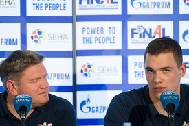 Sergey Bebeshko and Vid Poteko at the opening press conference  during the Final Tournament - Final Four - SEHA - Gazprom league, Skopje, 12.04.2018, Mandatory Credit ©SEHA/ Sasa Pahic Szabo