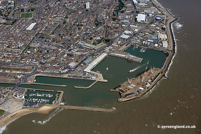aerial photograph of Lowestoft Outer Harbour  Suffolk England UK