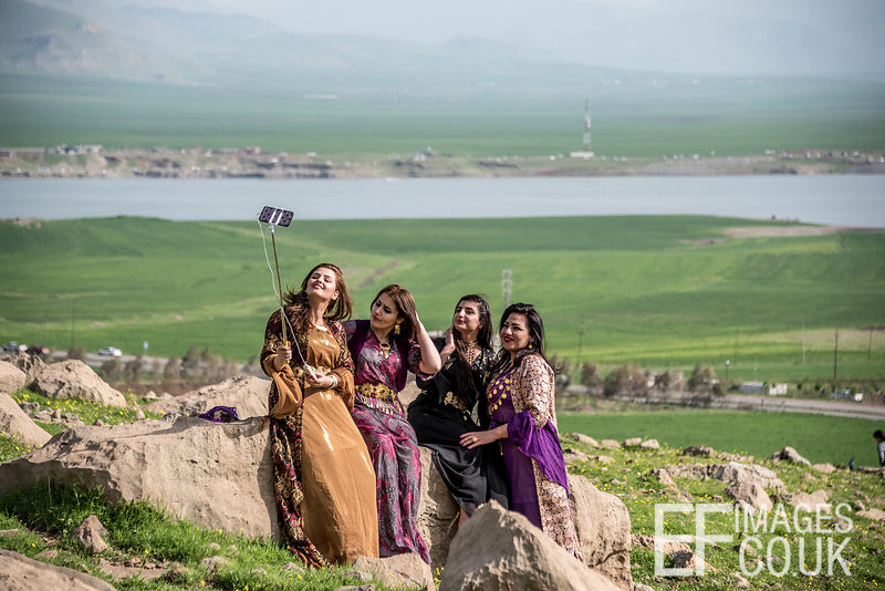 Selfie Time! Kurdish Women On A Spring Picnic In The Mountains North Of Lake Dukan Pose For A Picture