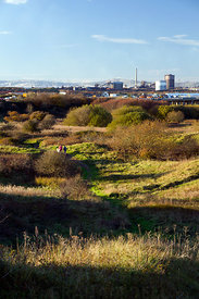 Port Talbot steel works from Kenfig national nature reserve South Wales uk
