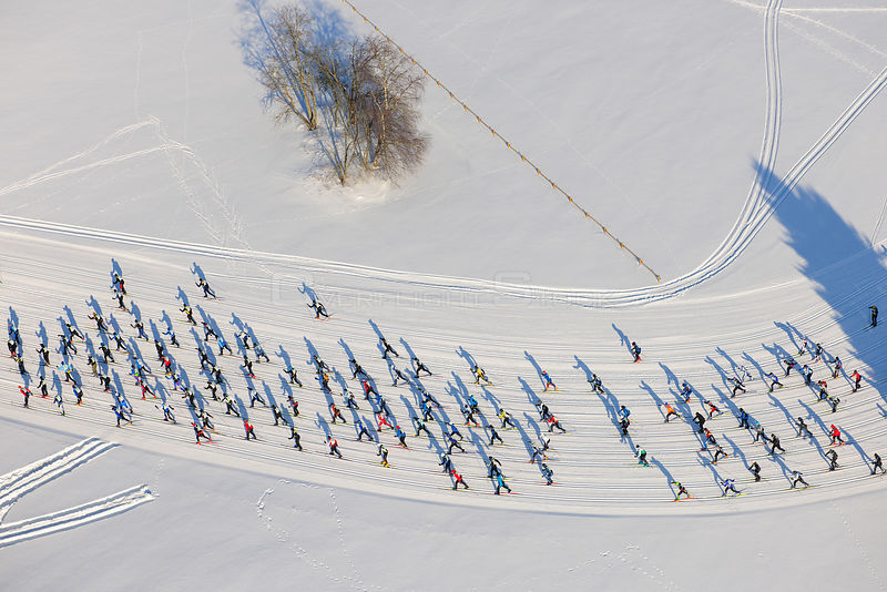 People in a cross-country skiing competition. Tartu, Estonia, Europe, February.