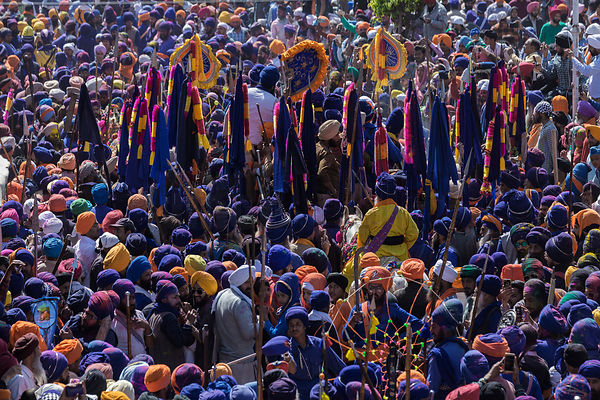 A Parade of Nihang Sikhs Heading Towards the Stadium for Horse Games