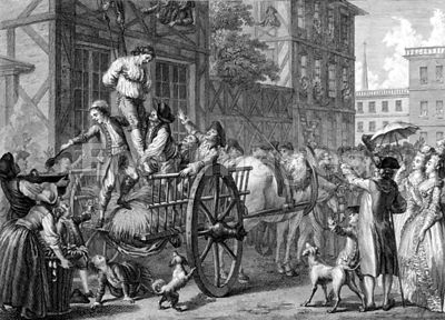 Print depicting crowds tarring and feathering the tax collector
